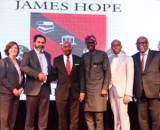 Chairman, Jim Ovia Foundation, Mr. Jim Ovia,CON ( 3rd Left), flanked by Governor of Lagos, Mr Babajide Sanwo-Olu ( 3rd right); Representative of American Ambassador to Nigeria, Ms. Carol Cox (1st Left); Chairman, Board of Directors, American International School Lagos (AISL), Mr. Ali Safieddine; Managing Partner, Olaniwun Ajayi, Mr Konyinsola Ajayi, SAN; and Member, Board of Trustees, James Hope College, Mr Oye Ibidapo-Obe, at the signing ceremony of the acquisition of American International School Lagos Property to establish James Hope College Lagos held at Civic Centre, Victoria Island, Lagos on Wednesday.