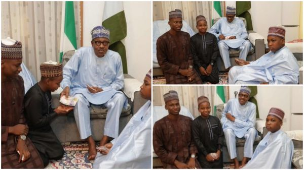 Buhari was pictured sharing Naira notes to some children who came to visit him. This is how Nigerians reacted